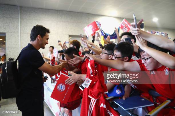 Mats Hummels of FC Bayern Muenchen arrives with the team at Shanghai Pudong International Airport for the Audi Summer Tour 2017 on July 17 2017 in...