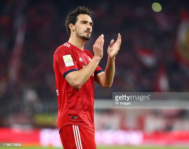 Mats Hummels of FC Bayern Muenchen celebrates after winning the Bundesliga match between FC Bayern Muenchen and Borussia Dortmund at Allianz Arena on...