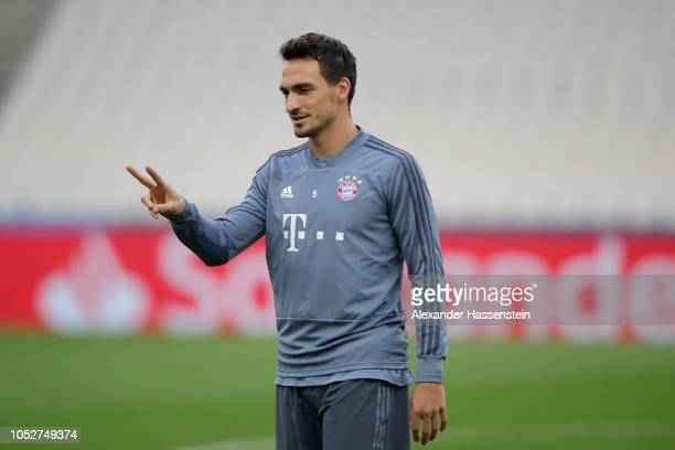 Mats Hummels of FC Bayern Muenchen during a training session ahead of their UEFA Champions League Group E match against AEK Athens at Athens Olympic...