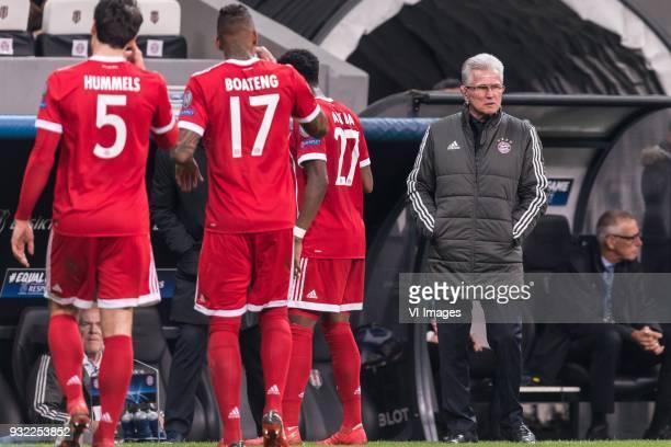 Mats Hummels of FC Bayern Munich Jerome Boateng of FC Bayern Munich David Alaba of FC Bayern Munich coach Jupp Heynckes of FC Bayern Munich during...