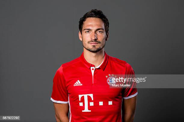 Mats Hummels of FC Bayern Munich pose during the team presentation on August 10 2016 in Munich Germany