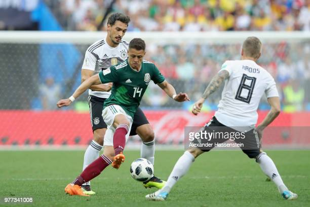 Mats Hummels of Geramny battles for the ball with Javier Hernandez of Mexico during the 2018 FIFA World Cup Russia group F match between Germany and...