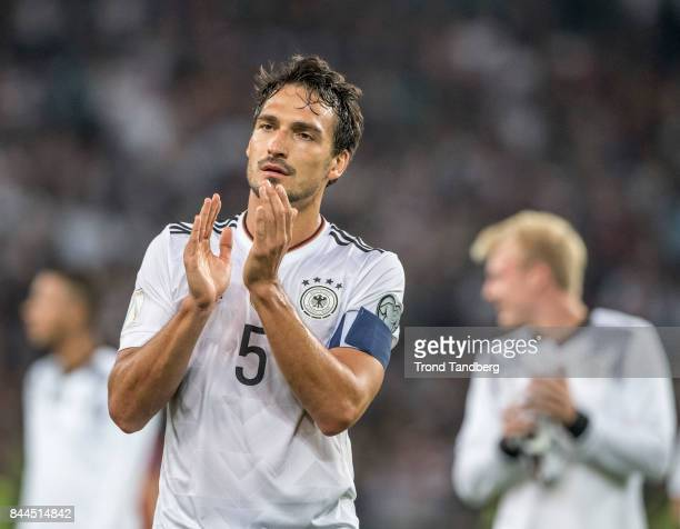 Mats Hummels of Germany after the FIFA 2018 World Cup Qualifier between Germany and Norway at MercedesBenz Arena on September 4 2017 in Stuttgart...
