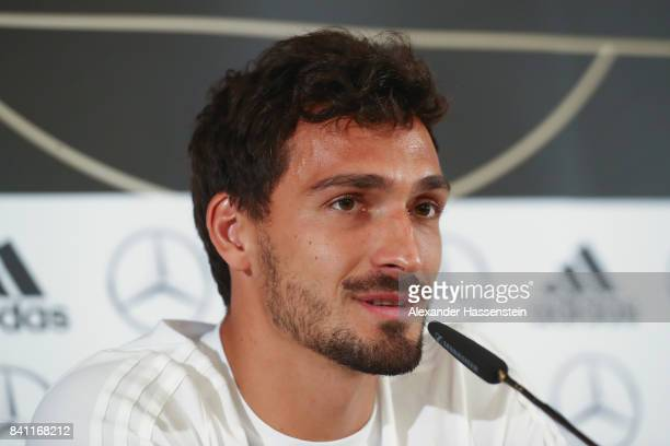 Mats Hummels of Germany attends a Germany press conference at the Marriott hotel ahead of their FIFA World Cup Russia 2018 Group C Qualifier against...
