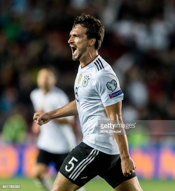Mats Hummels of Germany celebrates after scoring his team's second goal during the FIFA 2018 World Cup Qualifier between Czech Republic and Germany...