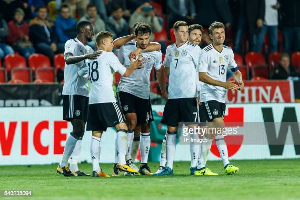 Mats Hummels of Germany celebrates after scoring his team`s second goal during the FIFA 2018 World Cup Qualifier between Czech Republic and Germany...
