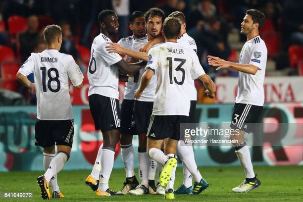 Mats Hummels of Germany celebrates his team's second goal with team mates during the FIFA World Cup Russia 2018 Group C Qualifier between Czech...