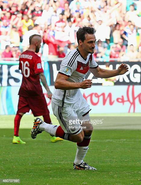 Mats Hummels of Germany celebrates scoring his team's second goal during the 2014 FIFA World Cup Brazil Group G match between Germany and Portugal at...