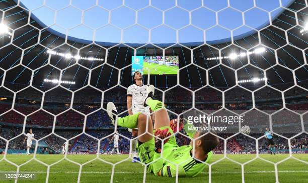Mats Hummels of Germany looks dejected after scoring an own goal past team mate Manuel Neuer during the UEFA Euro 2020 Championship Group F match...