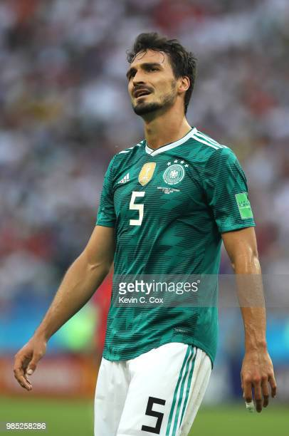 Mats Hummels of Germany looks dejected during the 2018 FIFA World Cup Russia group F match between Korea Republic and Germany at Kazan Arena on June...