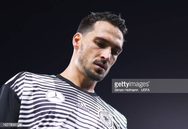 Mats Hummels of Germany looks on prior to the UEFA Nations League Group A match between Germany and France at Allianz Arena on September 6 2018 in...