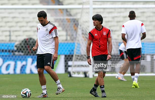 Mats Hummels of Germany plays the ball during the Germany training session ahead of the 2014 FIFA World Cup Group G match between Germany and Ghana...
