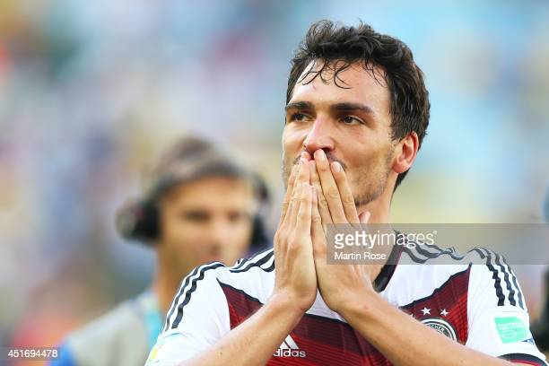 Mats Hummels of Germany reacts after defeating France 10 in the 2014 FIFA World Cup Brazil Quarter Final match between France and Germany at Maracana...