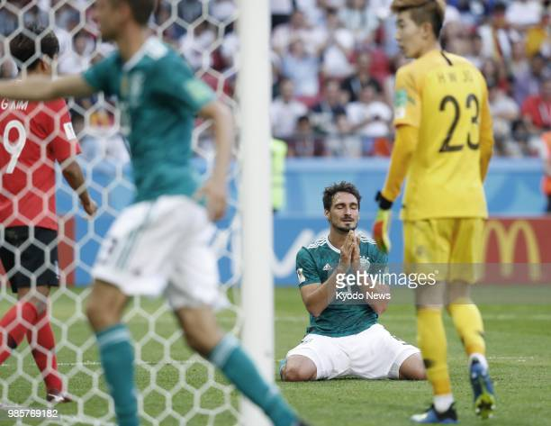 Mats Hummels of Germany reacts after missing a chance to score during the second half of a World Cup Group F match against South Korea in Kazan...