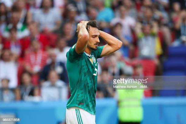 Mats Hummels of Germany reacts during the 2018 FIFA World Cup Russia group F match between Korea Republic and Germany at Kazan Arena on June 27 2018...