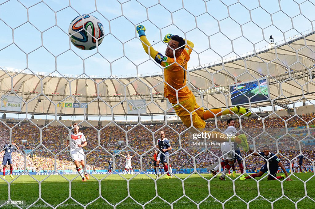 Mats Hummels of Germany scores his team's first goal past Hugo Lloris of France during the 2014 FIFA World Cup Brazil Quarter Final match between France and Germany at Maracana on July 4, 2014 in Rio de Janeiro, Brazil.