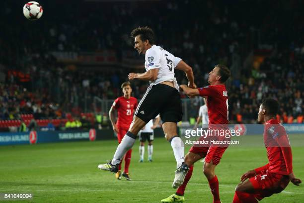 Mats Hummels of Germany scores his team's second goal against Vladimir Darida of Czech Republic during the FIFA World Cup Russia 2018 Group C...