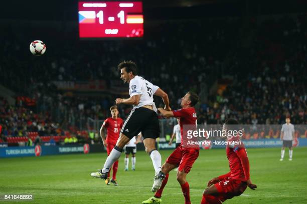 Mats Hummels of Germany scores his team's second goal during the FIFA World Cup Russia 2018 Group C Qualifier between Czech Republic and Germany at...