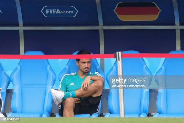 Mats Hummels of Germany sits injured on the team bench during the Germany Training Press Conference at Fisht Stadium on June 22 2018 in Sochi Russia