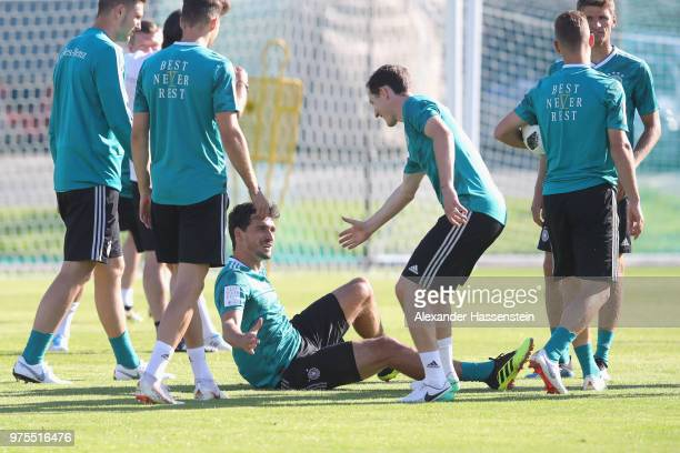Mats Hummels of Germany talks to his team mates during the Germany training session ahead of the 2018 FIFA World Cup at CSKA Sports Base Vatutinki on...