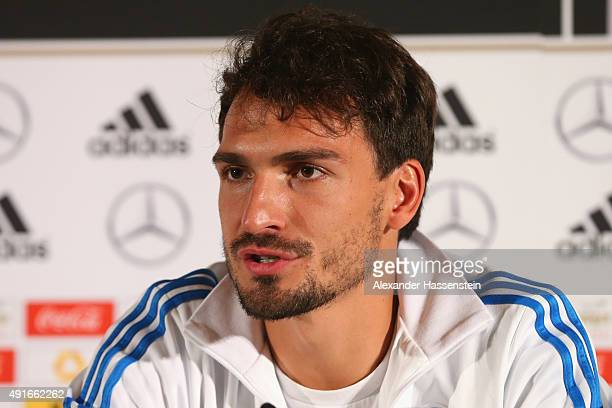 Mats Hummels of Germany talks to th media during a press conference of the German national football team at Intercontinental Hotel Dublin on October...