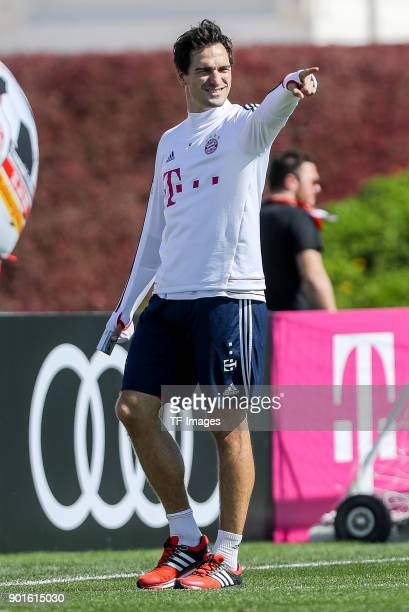 Mats Hummels of Muenchen gestures during the FC Bayern Muenchen training camp at Aspire Academy on January 04 2018 in Doha Qatar