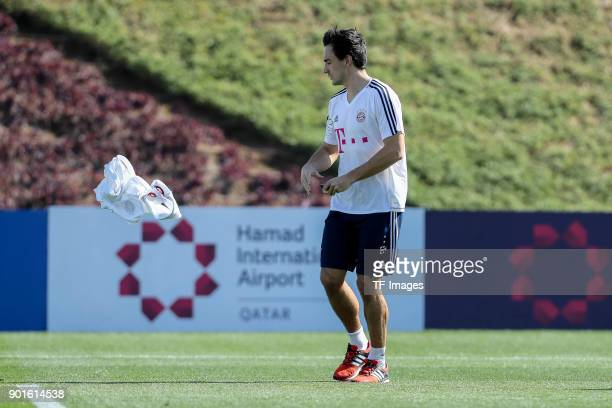 Mats Hummels of Muenchen in action during the FC Bayern Muenchen training camp at Aspire Academy on January 04 2018 in Doha Qatar