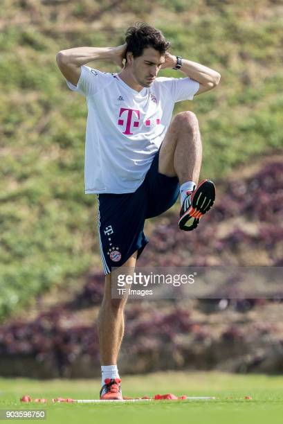 Mats Hummels of Muenchen in action during the FC Bayern Muenchen training camp at Aspire Academy on January 07 2018 in Doha Qatar