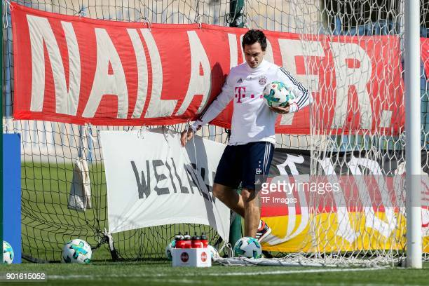 Mats Hummels of Muenchen looks on during the FC Bayern Muenchen training camp at Aspire Academy on January 04 2018 in Doha Qatar