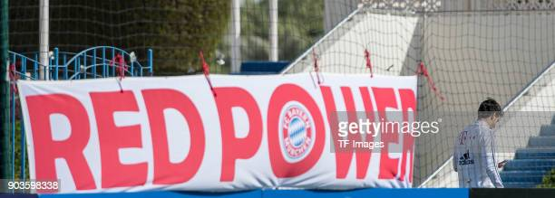 Mats Hummels of Muenchen looks on during the FC Bayern Muenchen training camp at Aspire Academy on January 07 2018 in Doha Qatar