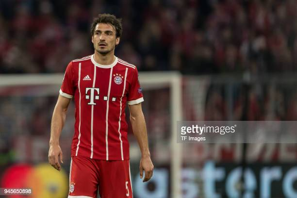 Mats Hummels of Muenchen looks on during the UEFA Champions League quarter final second leg match between Bayern Muenchen and Sevilla FC at Allianz...
