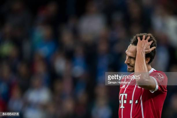 Mats Hummels of Muenchen reacts during the Bundesliga match between TSG 1899 Hoffenheim and FC Bayern Muenchen at Wirsol RheinNeckarArena on...
