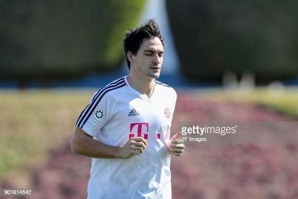 Mats Hummels of Muenchen runs during the FC Bayern Muenchen training camp at Aspire Academy on January 04 2018 in Doha Qatar