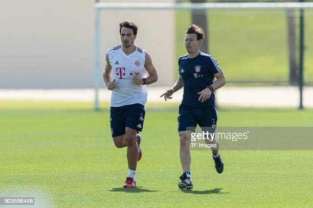 Mats Hummels of Muenchen runs during the FC Bayern Muenchen training camp at Aspire Academy on January 07 2018 in Doha Qatar