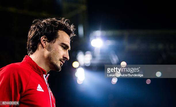 Mats Hummels of Munich walks on the pitch prior to the Bundesliga match between Borussia Dortmund and Bayern Muenchen at Signal Iduna Park on...