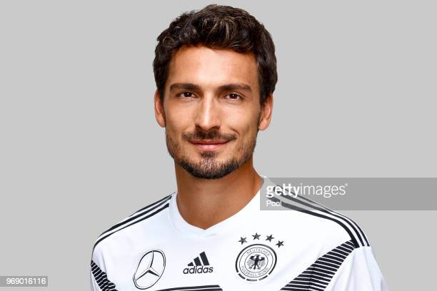 Mats Hummels poses for a photo during a portrait session ahead of the 2018 FIFA World Cup Russia at Eppan training ground on June 5 2018 in Eppan...