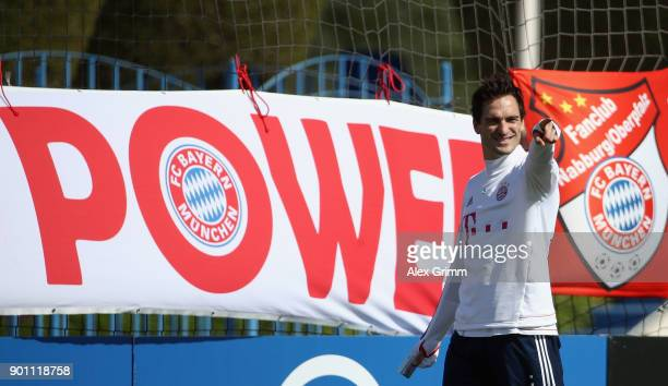 Mats Hummels reacts after an individual training session on day 3 of the FC Bayern Muenchen training camp at ASPIRE Academy for Sports Excellence on...
