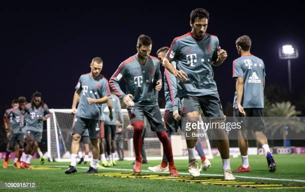 Mats Hummels warms up during a training session at day four of the Bayern Muenchen training camp at Aspire Academy on January 07 2019 in Doha Qatar
