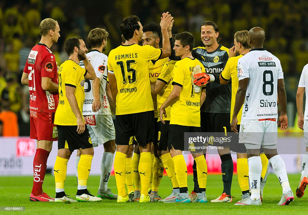 Mats Julian Hummels, Jonas Hofmann, Pierre-Emerick Aubameyang, Marcel Schmelzer and goal keeper Roman Weidenfeller of Borussia Dortmund celebrate the win after the final whistle during the UEFA Europa League: Third Qualifying Round 2nd Leg match between Borussia Dortmund and Wolfsberg at Signal Iduna Park on August 06, 2015 in Dortmund, Germany.