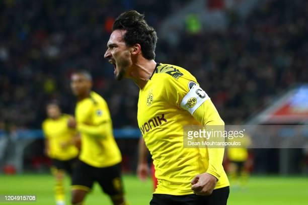 Mats Julian Hummels of Borussia Dortmund celebrates scoring his teams first goal of the game during the Bundesliga match between Bayer 04 Leverkusen...