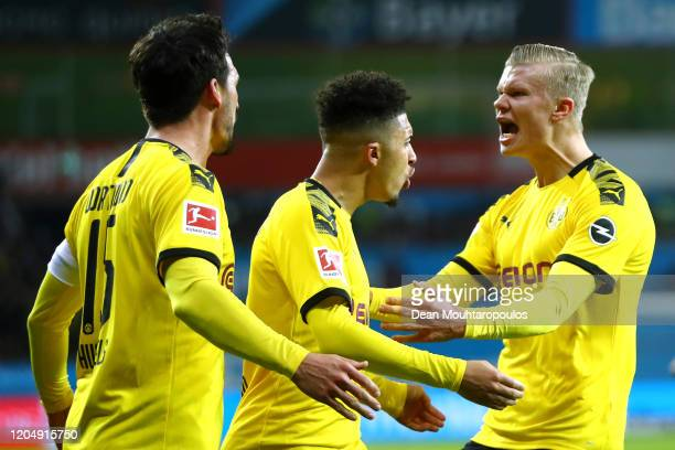 Mats Julian Hummels of Borussia Dortmund celebrates scoring his teams first goal of the game with Jadon Sancho and Erling Haaland during the...