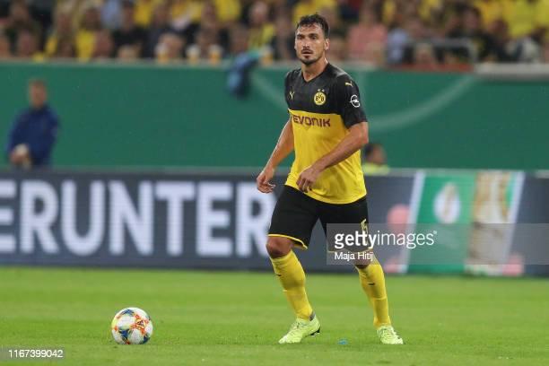 Mats Julian Hummels of Borussia Dortmund controls the ball during the DFB Cup first round match between KFC Uerdingen and Borussia Dortmund at Merkur...