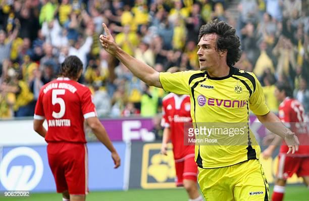 Mats Julian Hummels of Dortmund celebrates scoring his team's first goal during the Bundesliga match between Borussia Dortmund and FC Bayern Muenchen...
