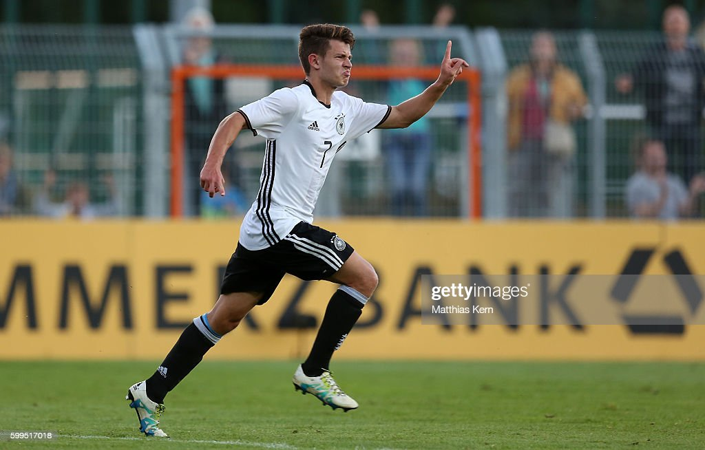 Mats Koehlert of Germany jubilates after scoring the second goal during the international friendly match between U19 Germany and U19 Netherlands on September 5, 2016 in Luckenwalde, Germany.