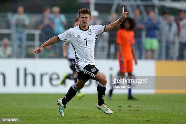 Mats Koehlert of Germany jubilates after scoring the second goal during the international friendly match between U19 Germany and U19 Netherlands on...