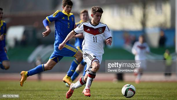 Mats Koehlert of Germany vies for the ball during the UEFA Under 17 Elite Round match between Germany and Ukraine at Georg-Gassmann-Stadion on March...