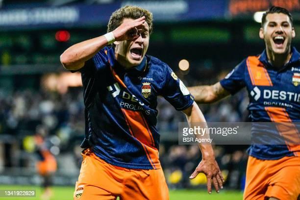 Mats Kohlert of Willem II celebrates after scoring his team second goal during the Dutch Eredivisie match between RKC Waalwijk and Willem II at...