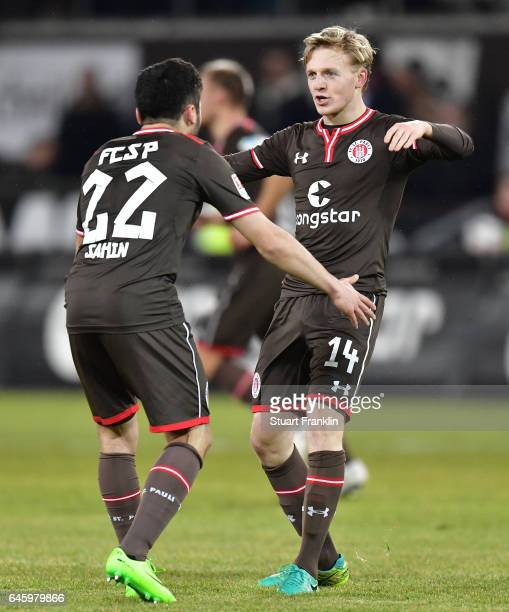 Mats M¿ller Daehli celebrates scoring his goal with Enver Cenk Sahin of St Pauli during the Second Bundesliga match between FC St Pauli and...