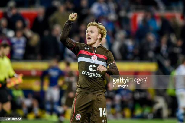 Mats Moeller Daehil of St Pauli celebrates after winning the Second Bundesliga match between MSV Duisburg and FC St Pauli at SchauinslandReisenArena...