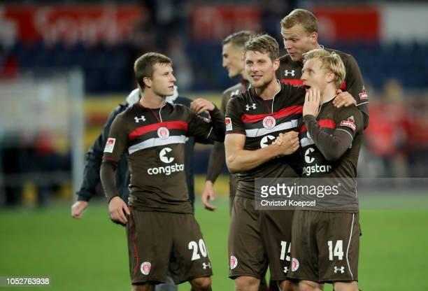 Mats Moeller Daehli and Daniel Buballa of St Pauli celebrate after winning g 10 the Second Bundesliga match between MSV Duisburg and FC St Pauli at...
